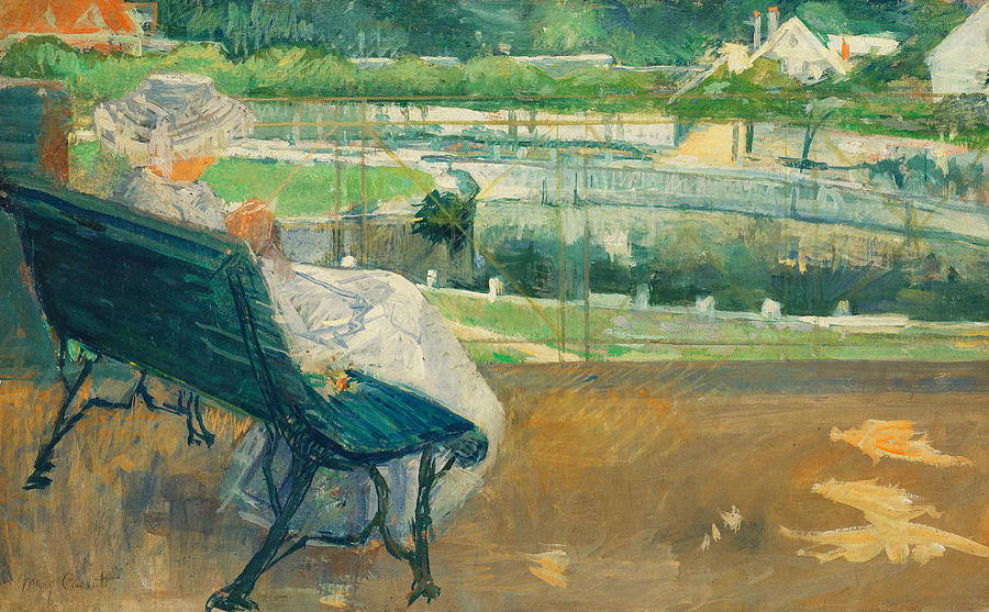Mary Stevenson Cassatt Painting - Lydia Seated On A Porch Crocheting by Mary Stevenson Cassatt