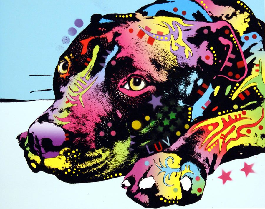 Dog Painting - Lying Pit Luv by Dean Russo