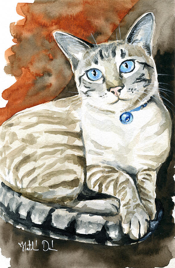 Lynx Point Siamese Cat Painting Painting By Dora Hathazi Mendes