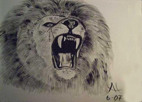 Lion Painting - Lyon by Al Borrego