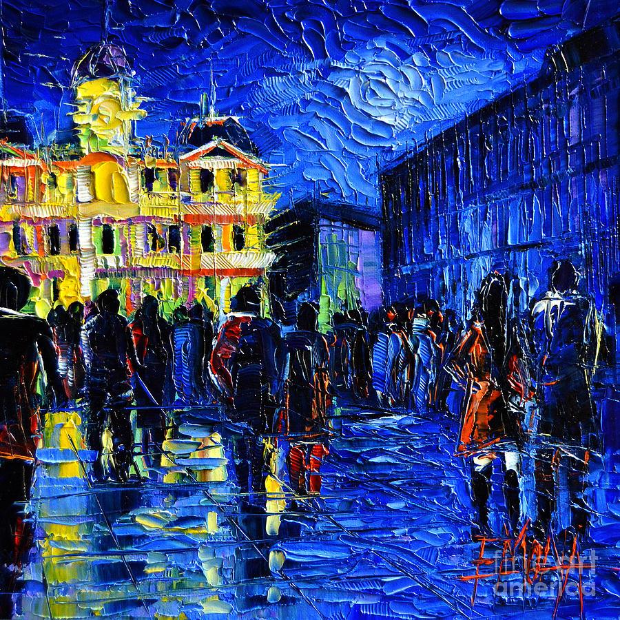 The Festival Of Lights Painting - Lyon Festival Of Lights by Mona Edulesco