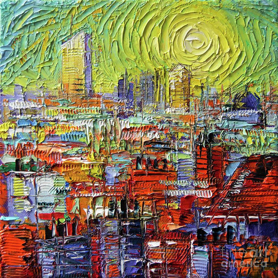 Contemporary Painting - Lyon Sunrise Glow - Modern Impressionist Stylized Cityscape by Mona Edulesco