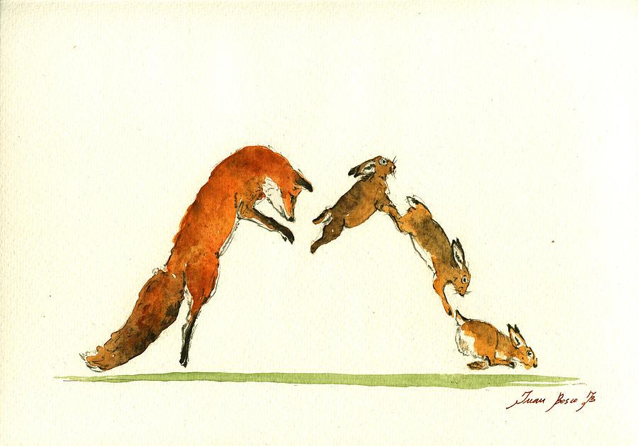 Alphabet Print Painting - M Letter Woodland Animals by Juan  Bosco