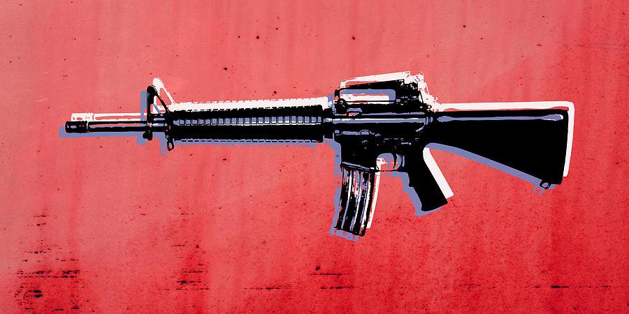 M16 Digital Art - M16 Assault Rifle On Red by Michael Tompsett