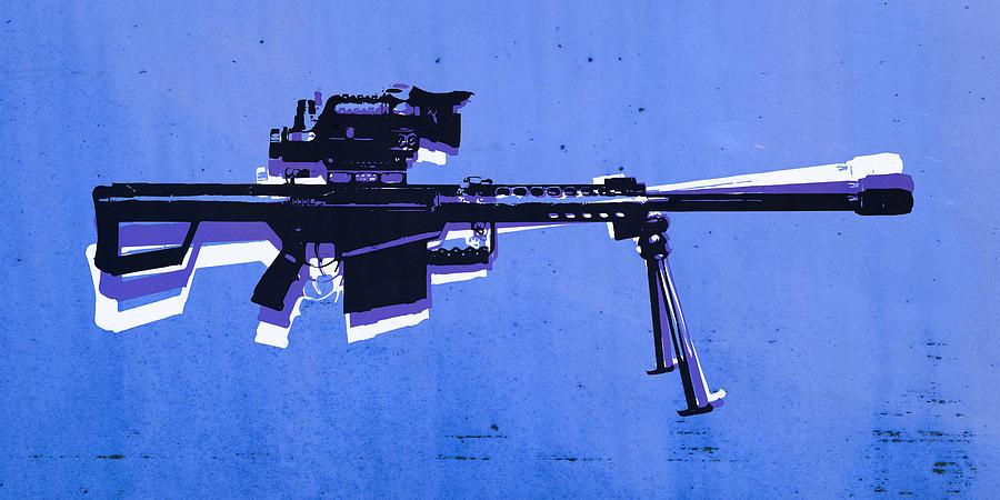 M82 Digital Art - M82 Sniper Rifle On Blue by Michael Tompsett