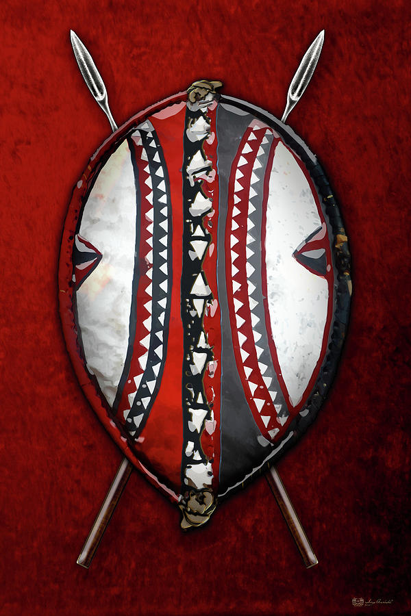 Maasai War Shield With Spears On Red Velvet