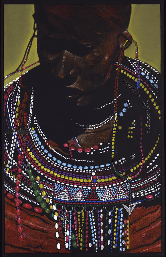 Portrait Painting - Maasai Woman by W James Taylor