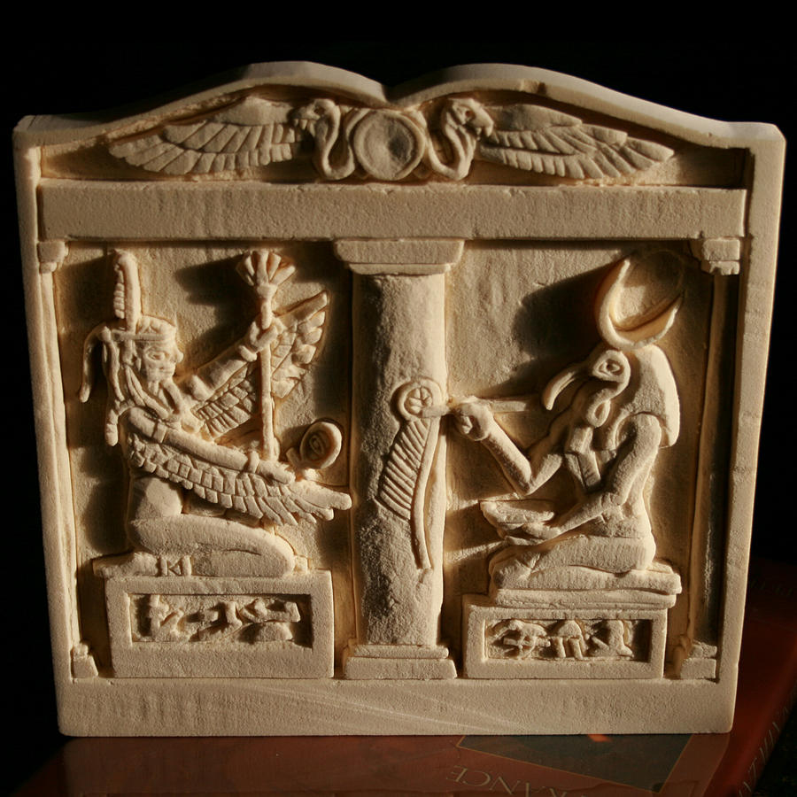 Relief Carving Relief - Maat Inspires Thoth by Donald R Ricker