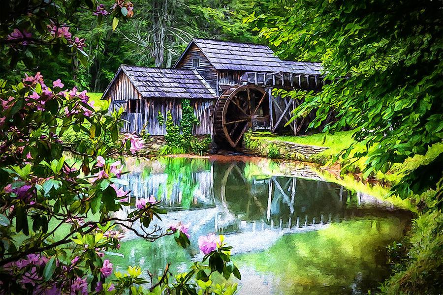 Mabry Mill Digital Art - Mabrys Mill In June by John Haldane