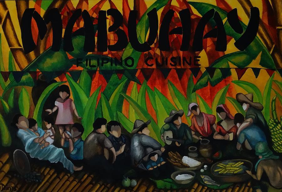 Filipino Painting - Mabuhay Restaurant by Glory Fraulein Wolfe