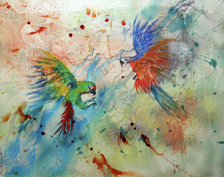 Macaws in Flight by Pam Halliburton