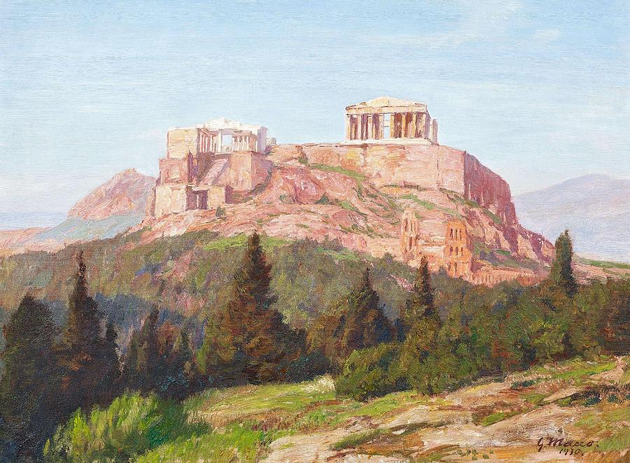 Nature Painting - Macco, Georg 1863 Aachen - 1933   The Acropolis Of Athens. by Aachen