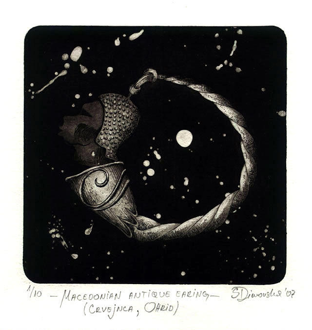 Intaglio Drawing - Macedonian Antique Earing From Crvejnca - Ohrid by Sonja Dimovska