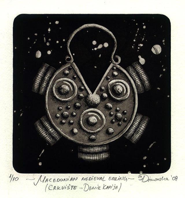 Intaglio Drawing - Macedonian Medieval Earing From Crkvishte - Demir Kapija by Sonja Dimovska