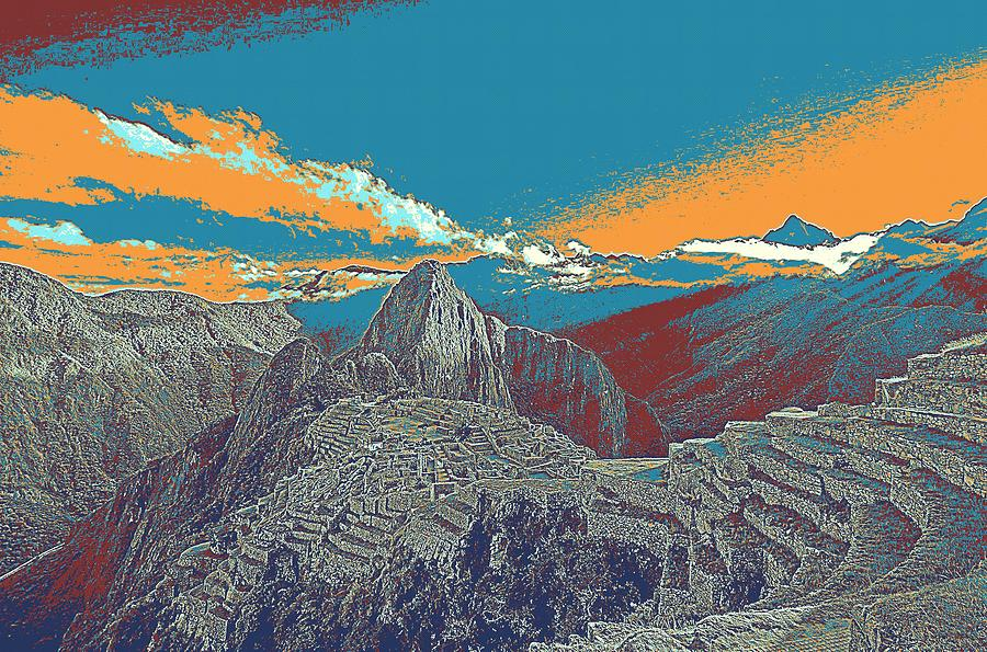 Nature Painting - Machu Picchu Travel Poster by Celestial Images