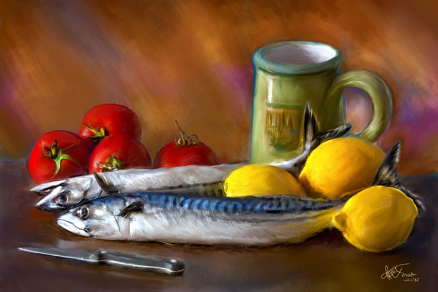Mackerels, Lemons and Tomatoes by Juan Carlos Ferro Duque