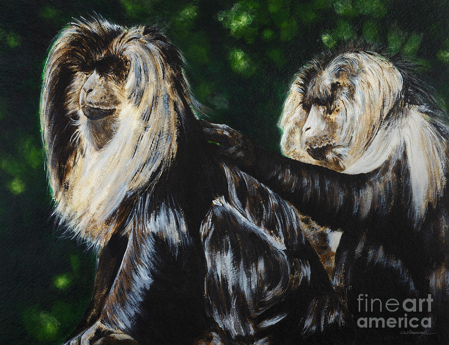 Monkey Painting - Macques by Monica Carrell