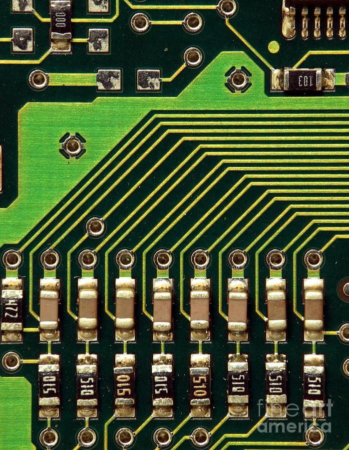 Computer Photograph - Macro Image Of A Computer Motherboard by Yali Shi