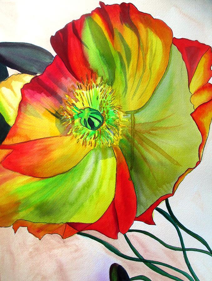 Macro Poppy Painting by Sacha Grossel