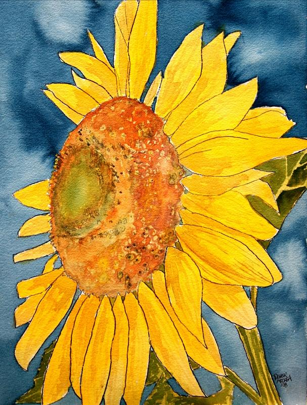 Sunflower Painting - Macro Sunflower Art by Derek Mccrea