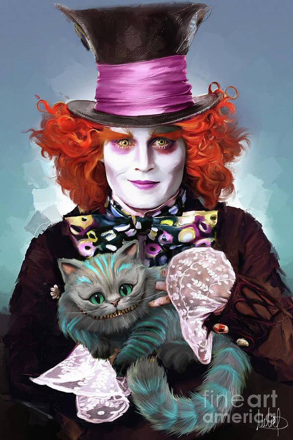 Mad Hatter Painting - Mad Hatter And Cheshire Cat by Melanie D