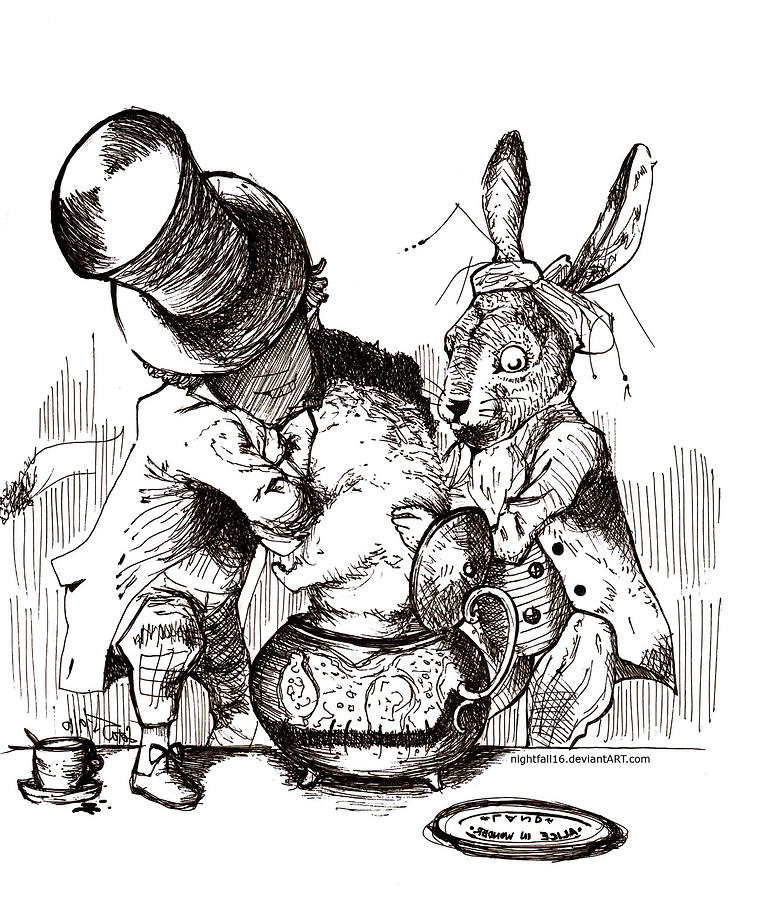 Alice in wonderland drawing mad hatter and rabbit by loremae albano