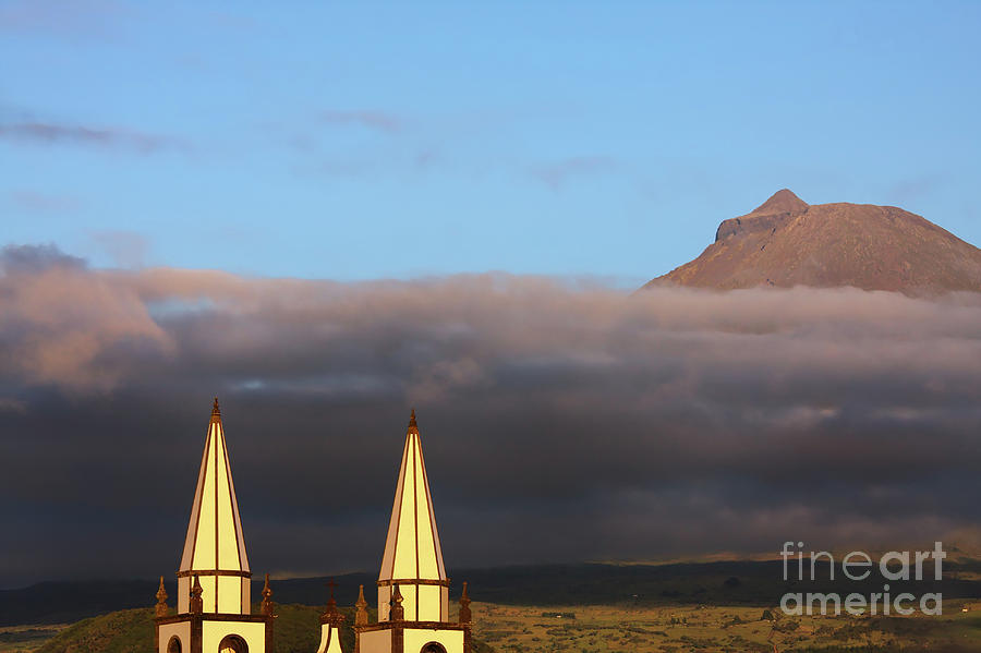Architecture Photograph - Madalena Azores Church Pico Volcano by Jan Brons