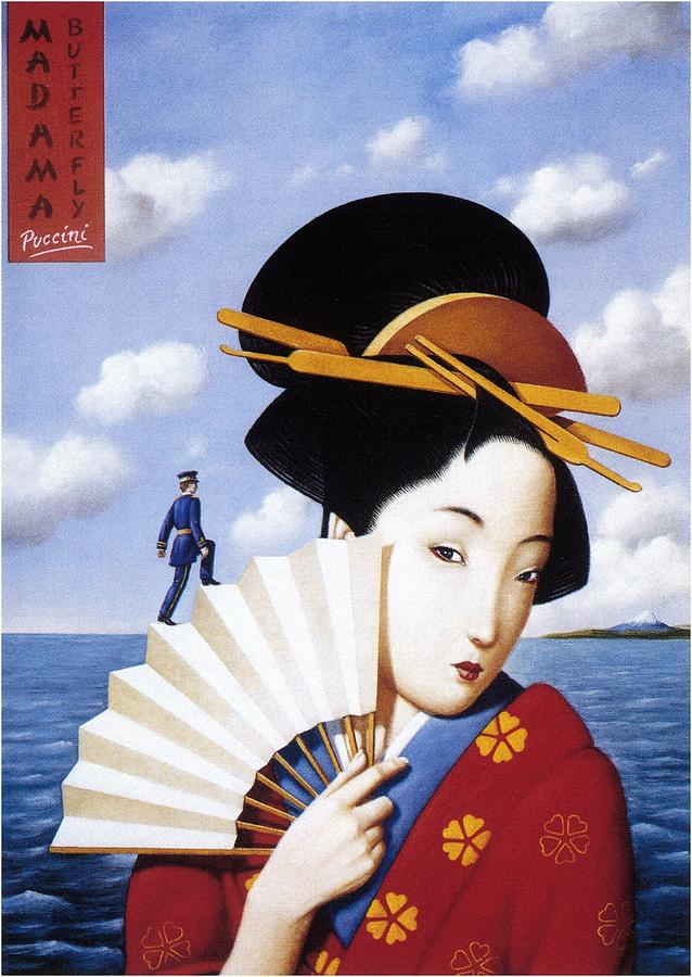Madam Butterfly Puccini - Japanese Kimono - Vintage Advertising Poster Mixed Media
