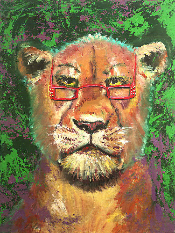 Lion Painting - Madam Lion by Peter Bonk