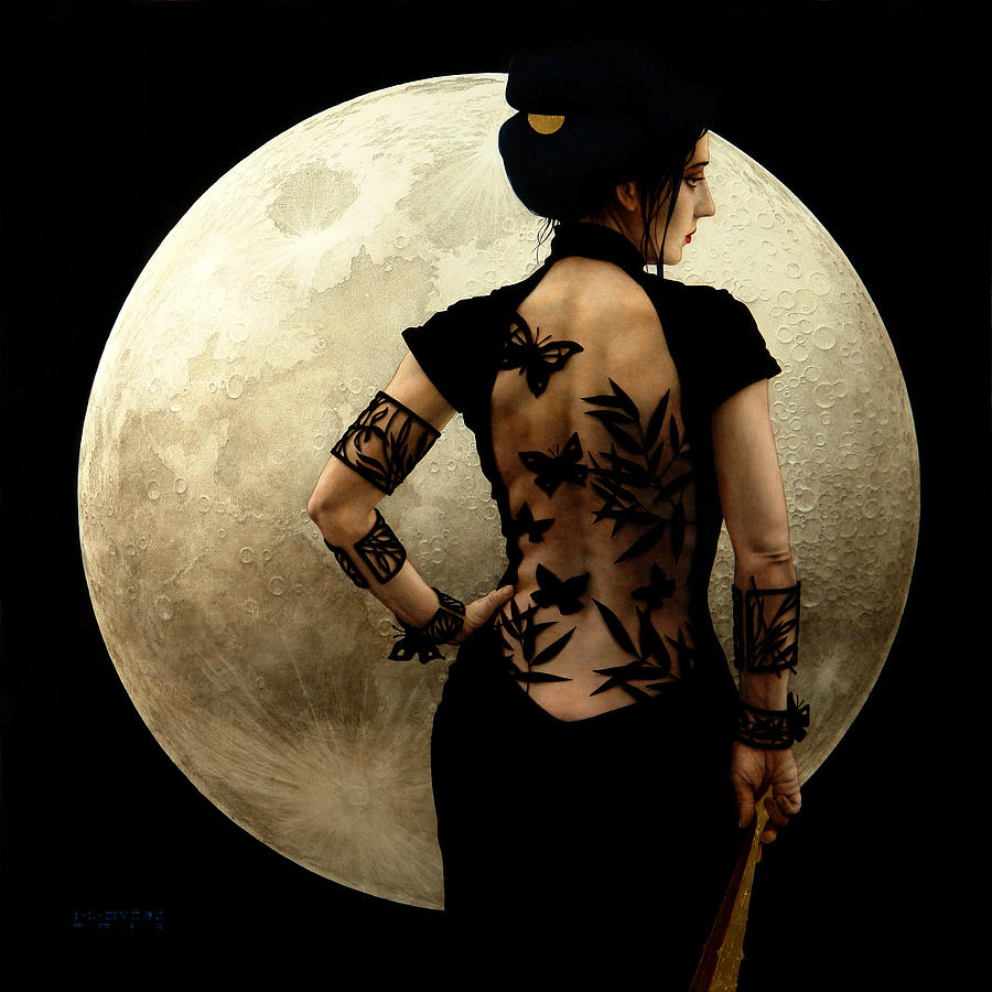 Luna Painting - Madame Butterfly by Jose Luis Munoz Luque