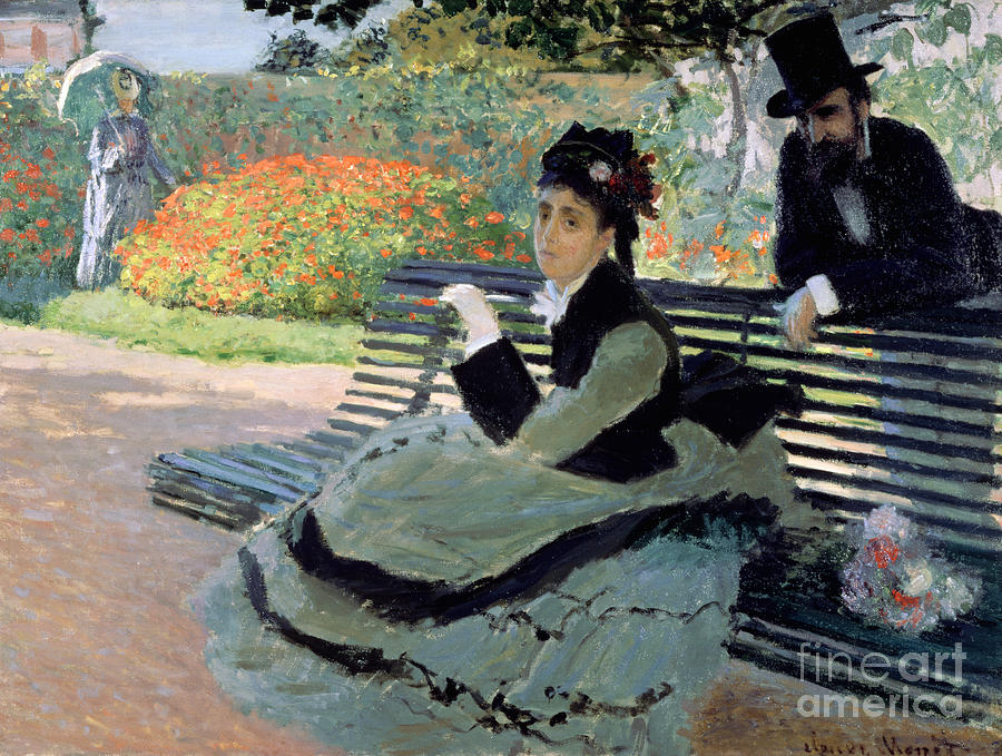 Madame Painting - Madame Monet On A Garden Bench by Claude Monet