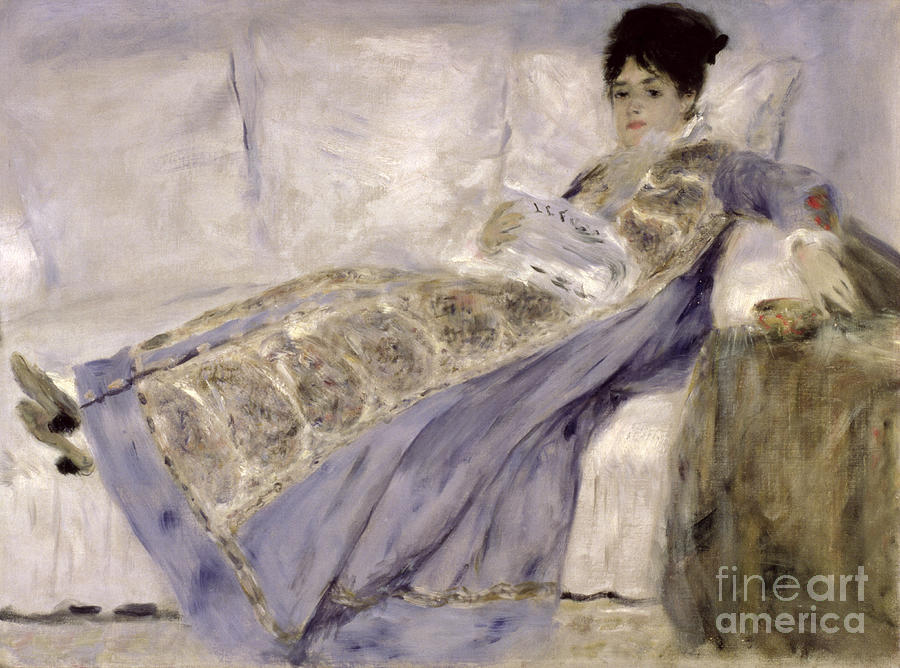 Madame Painting - Madame Monet On A Sofa by Pierre Auguste Renoir