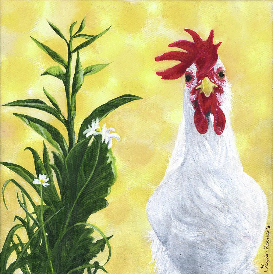 Chicken Painting - Madame Rouge by Twyla Francois
