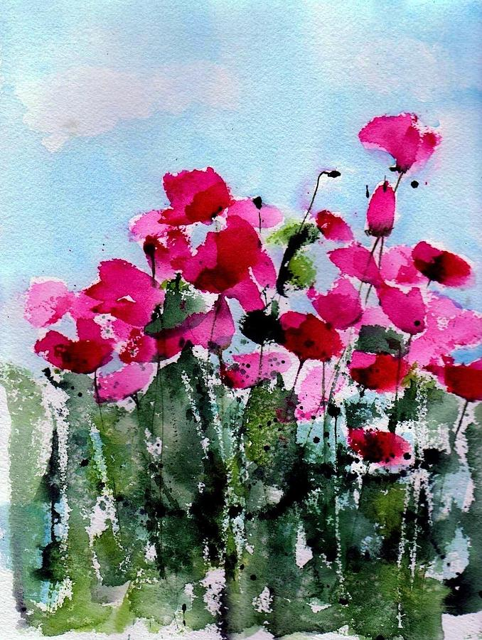Poppies Painting - Maddys Poppies by Anne Duke