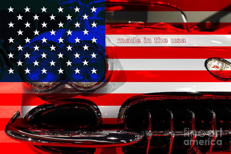 Corvette Photograph - Made In The Usa . Chevy Corvette by Wingsdomain Art and Photography