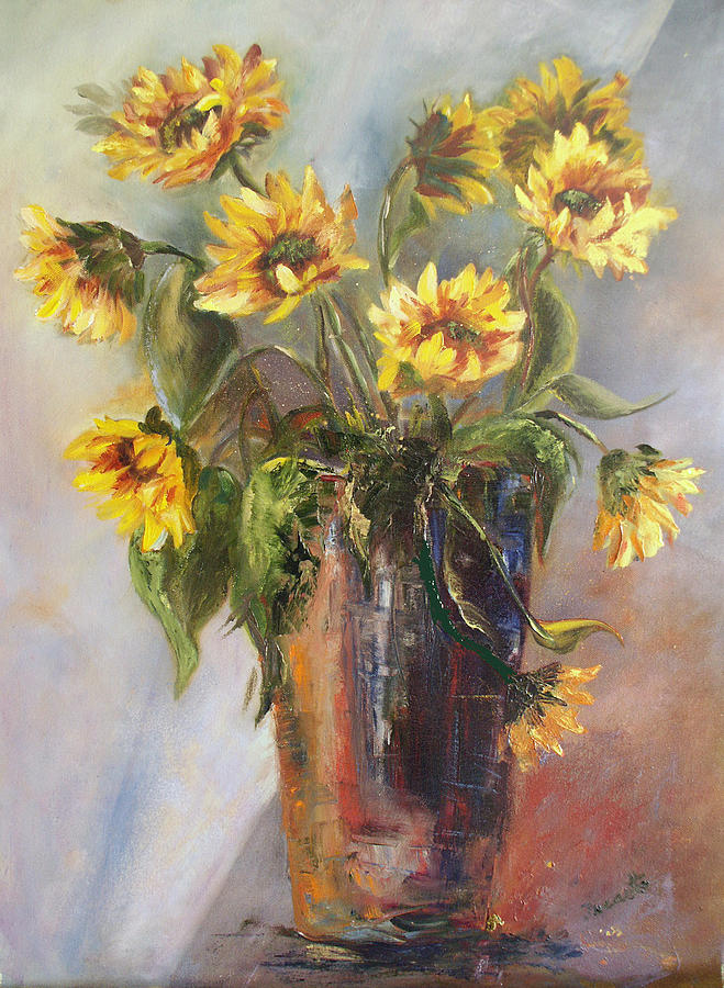 Floral Painting - Madelaines Sunflowers by Jeanette Fowler