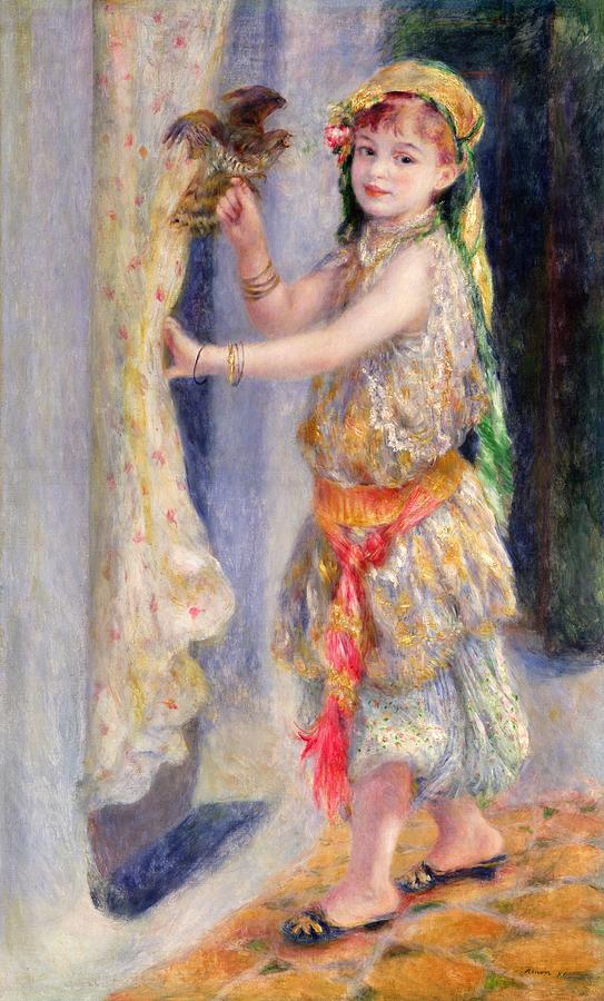 Female; Portrait; Traditional Algerian Costume; Young Girl; Child; Children; Impressionist; Bird; Innocent; Innocence; Fancy Dress Painting - Mademoiselle Fleury In Algerian Costume by Pierre Auguste Renoir