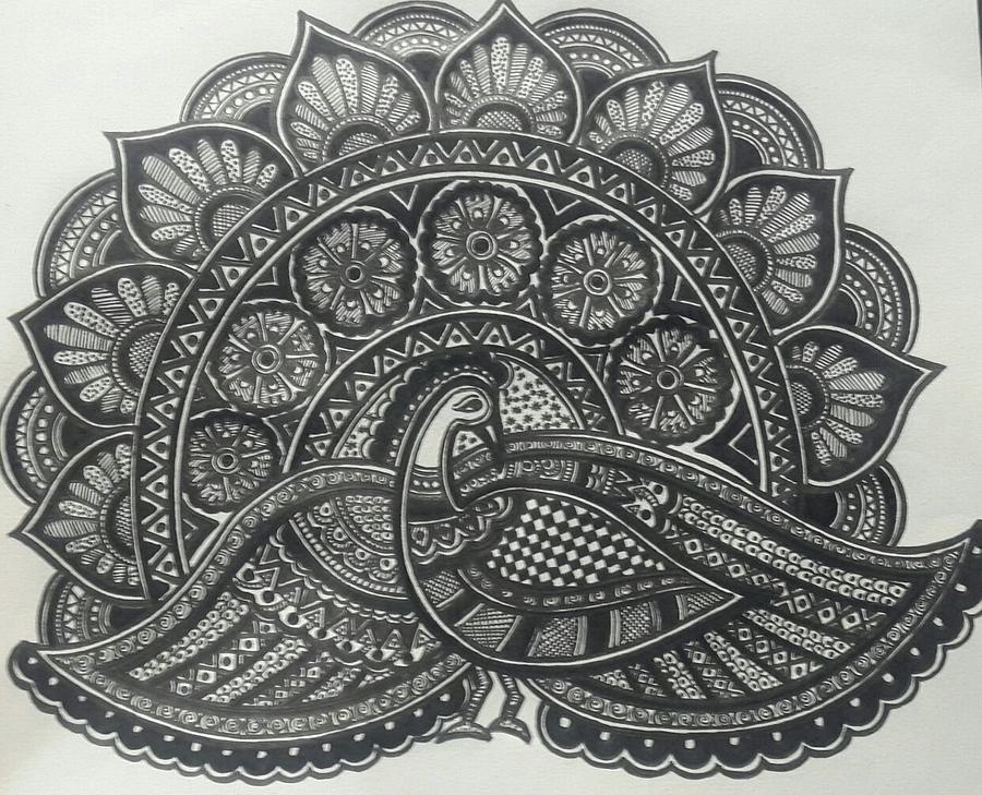 madhubani paintings in black and white  Madhubani-the Dancing Peacock Painting by Pooja Jain