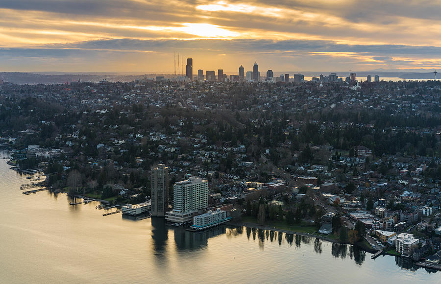 Seattle Photograph - Madison Park And The Seattle Skyline by Mike Reid