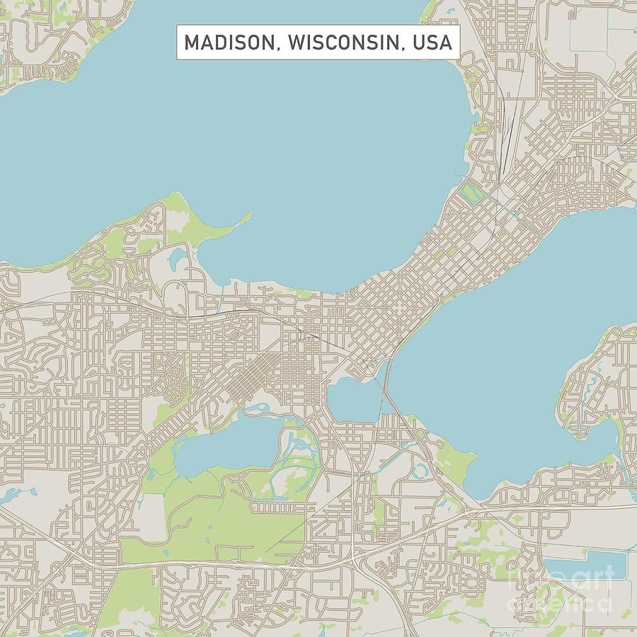 Madison Wisconsin Us City Street Map Digital Art By Frank Ramspott