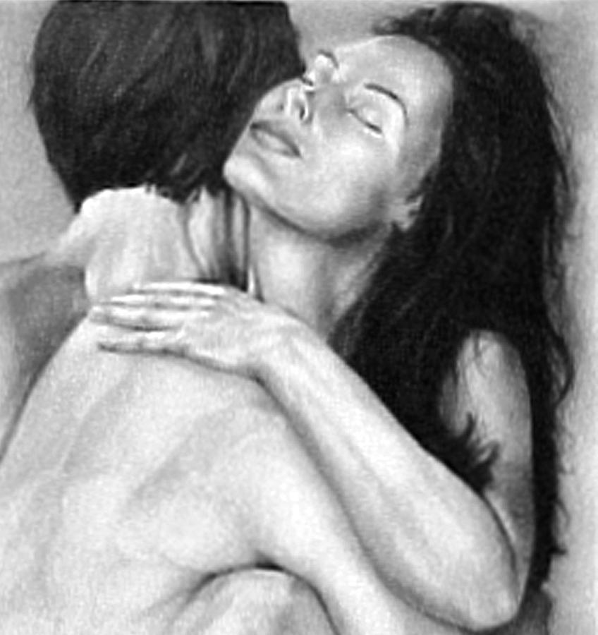 Realistic painting madly in love couple black and white drawing by rjfxx at beautifullart