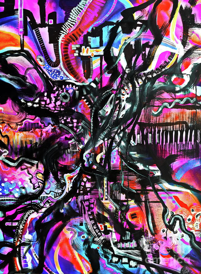Pink Painting - Madness or Genius by Priscilla Batzell Expressionist Art Studio Gallery