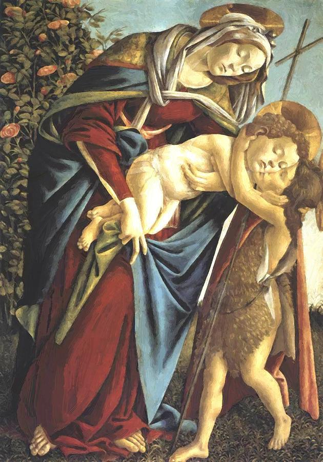 Madonna Painting - Madonna And Child And The Young St John The Baptist 1495 by Botticelli Sandro