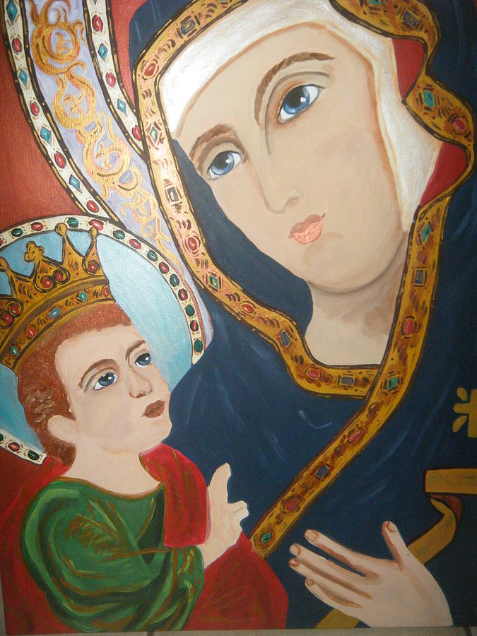 Religious Art (icon) Painting - Madonna And Child by Demetria Kelley