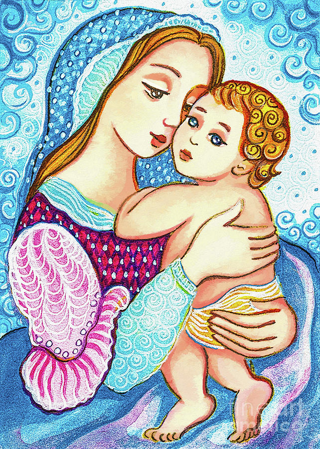 Madonna and Child in Blue by Eva Campbell