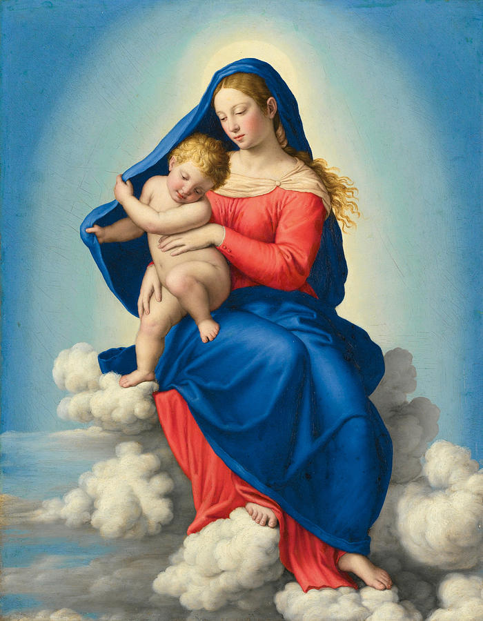 Sassoferrato Painting - Madonna And Child In Glory by Sassoferrato