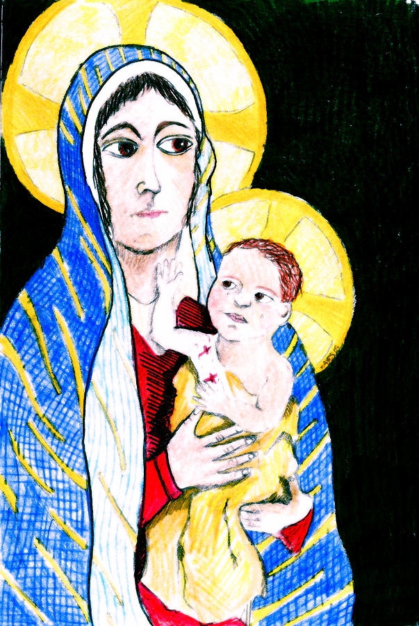 Christ Digital Art - Madonna And Child by Jame Hayes