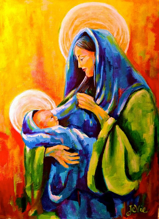 Christmas Painting - Madonna And Child Painting by Jevie Stegner