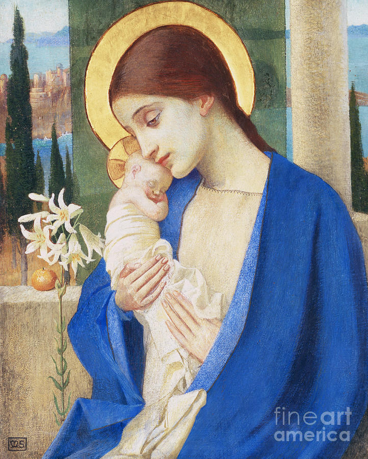 Flower Painting - Madonna and Child by Marianne Stokes