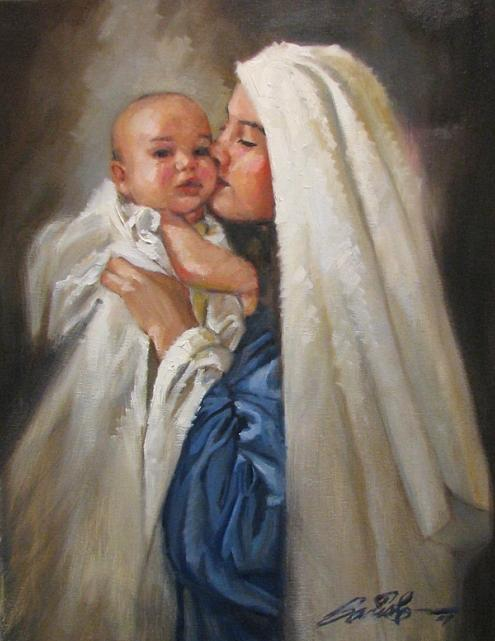 Virgin Mary Painting - Madonna And Child by Mark Sanislo
